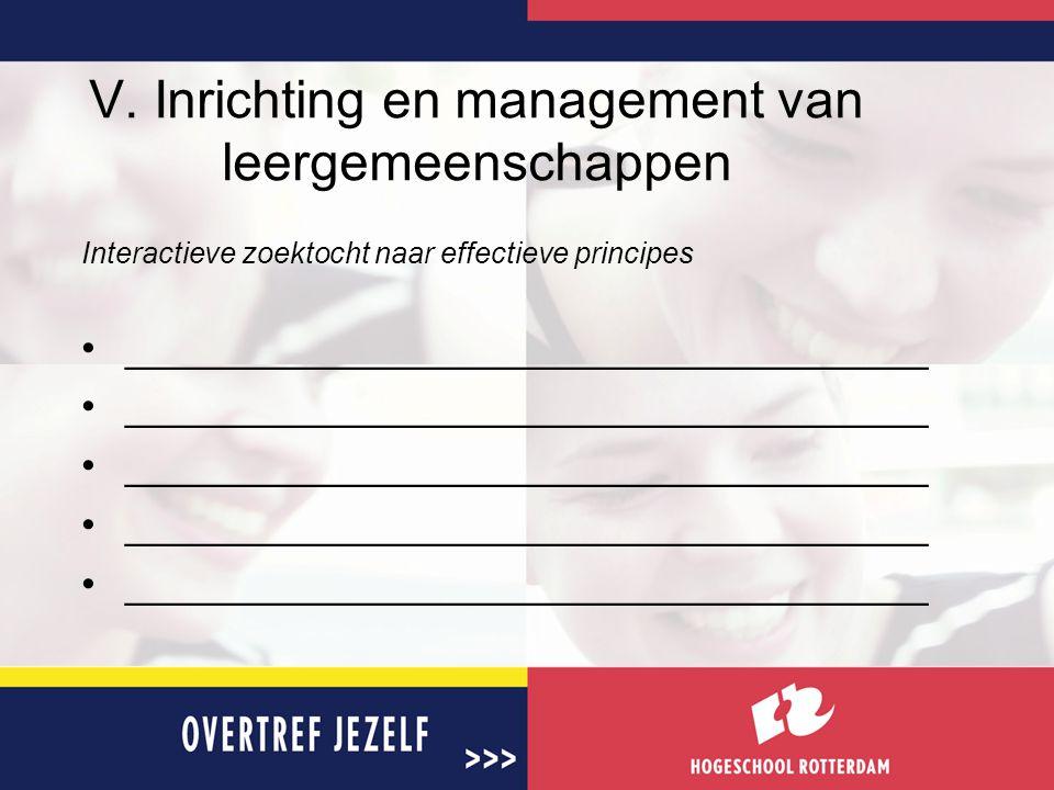 V. Inrichting en management van leergemeenschappen