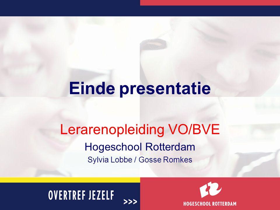 Einde presentatie Lerarenopleiding VO/BVE Hogeschool Rotterdam