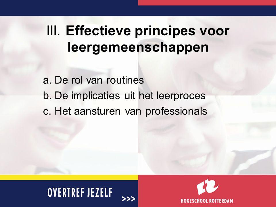 III. Effectieve principes voor leergemeenschappen