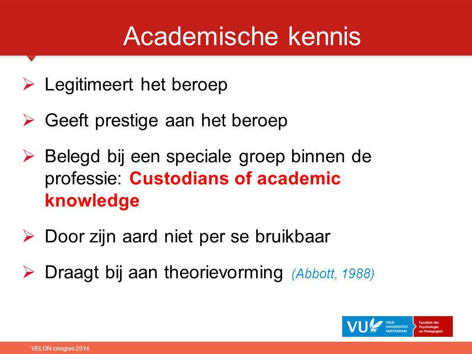 Academische kennis Legitimeert het beroep