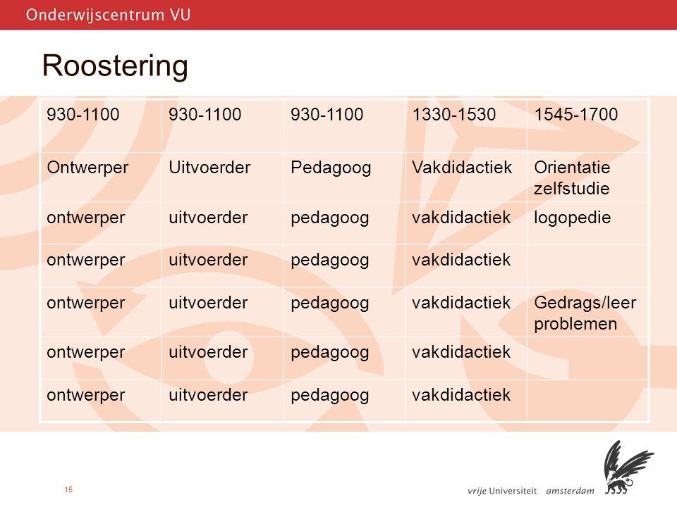 Roostering 930-1100 1330-1530 1545-1700 Ontwerper Uitvoerder Pedagoog