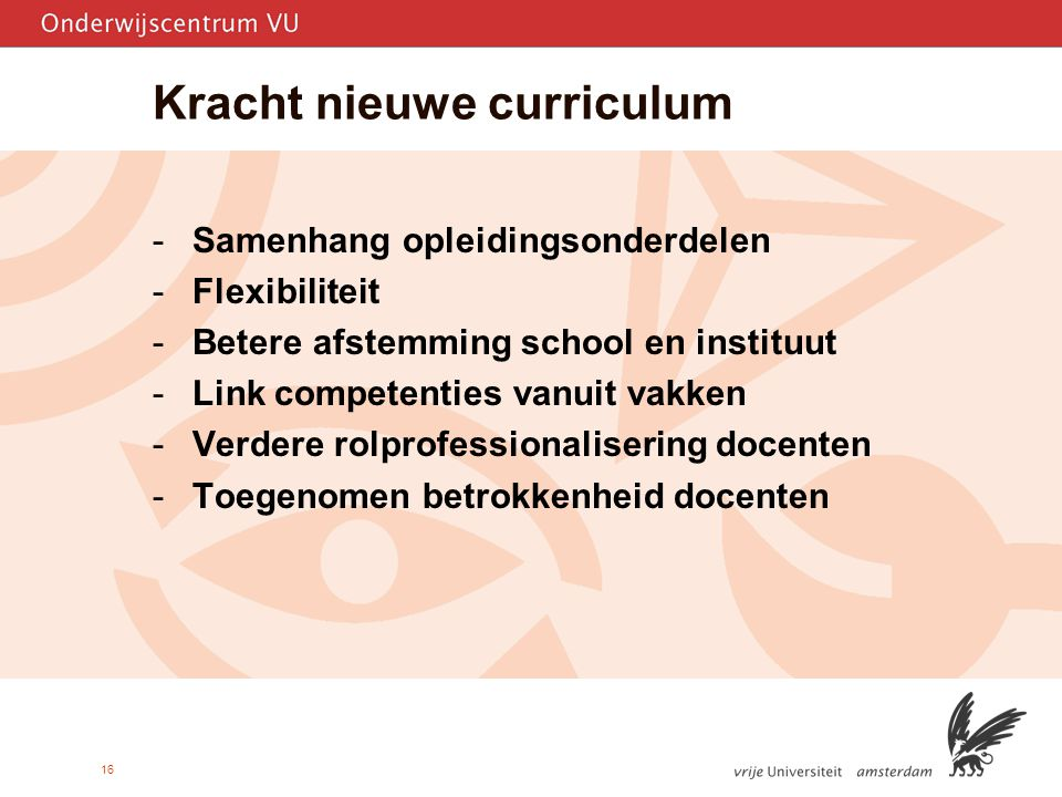 Kracht nieuwe curriculum