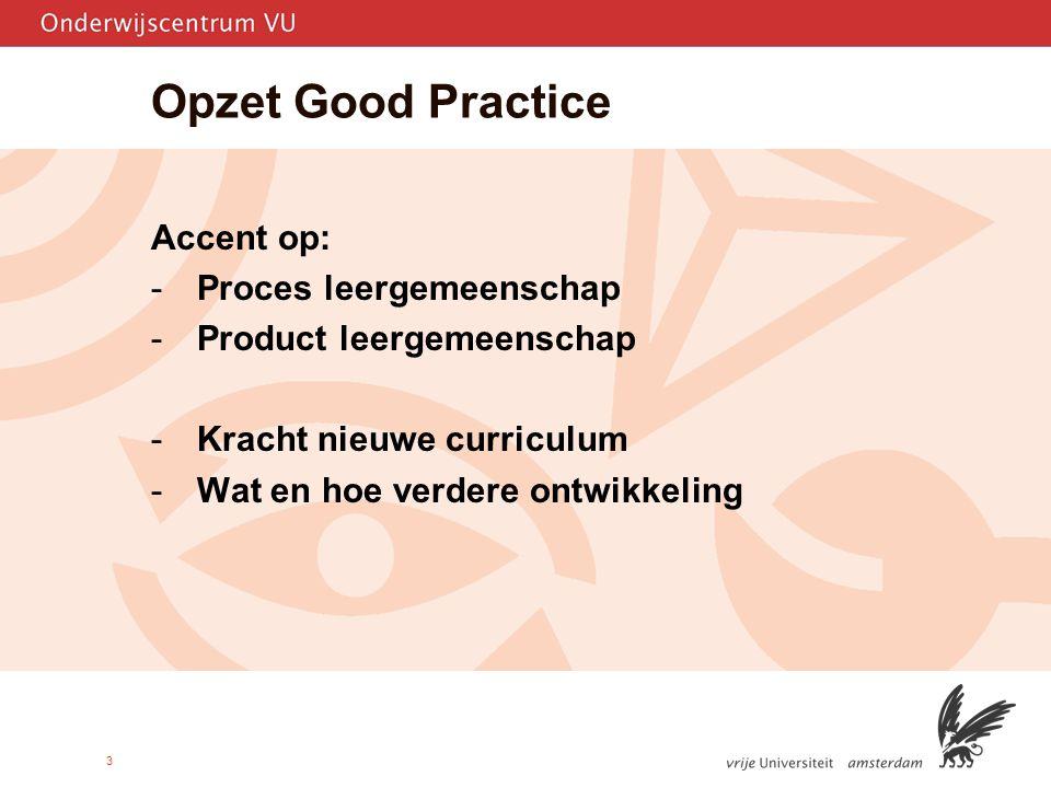 Opzet Good Practice Accent op: Proces leergemeenschap