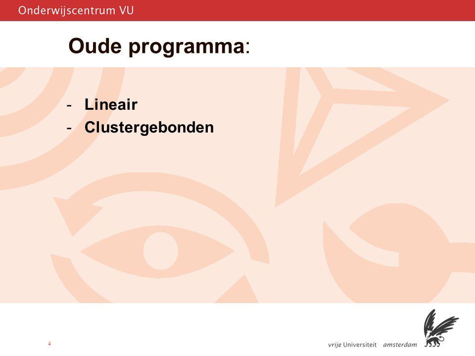 Oude programma: Lineair Clustergebonden