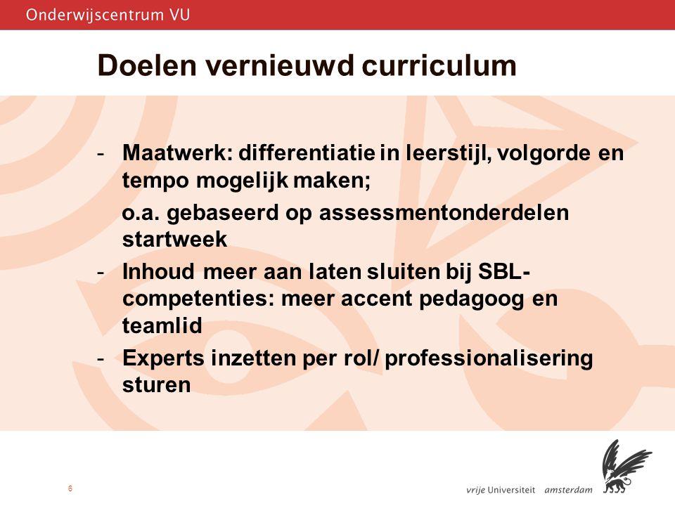 Doelen vernieuwd curriculum