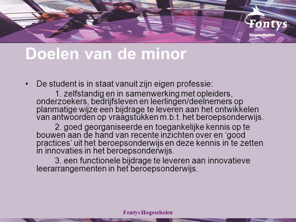 Doelen van de minor De student is in staat vanuit zijn eigen professie: