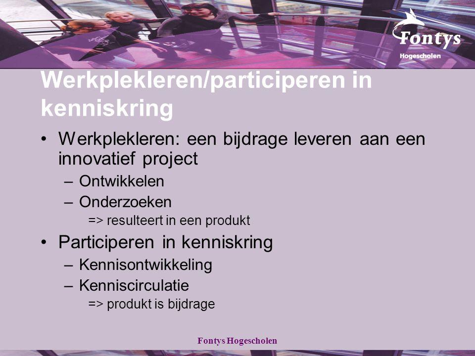 Werkplekleren/participeren in kenniskring