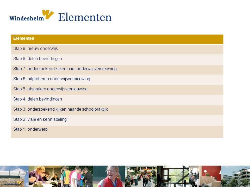 Elementen Elementen Stap 9: nieuw onderwijs Stap 8: delen bevindingen