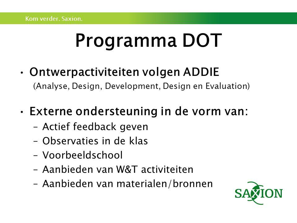 Programma DOT Ontwerpactiviteiten volgen ADDIE