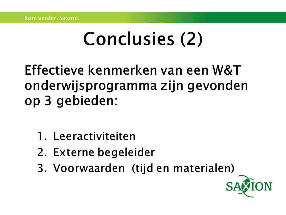 Conclusies (2) Effectieve kenmerken van een W&T onderwijsprogramma zijn gevonden op 3 gebieden: Leeractiviteiten.