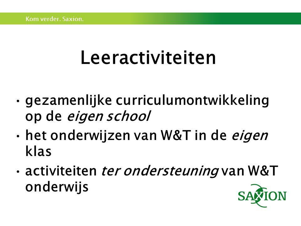 Leeractiviteiten gezamenlijke curriculumontwikkeling op de eigen school. het onderwijzen van W&T in de eigen klas.