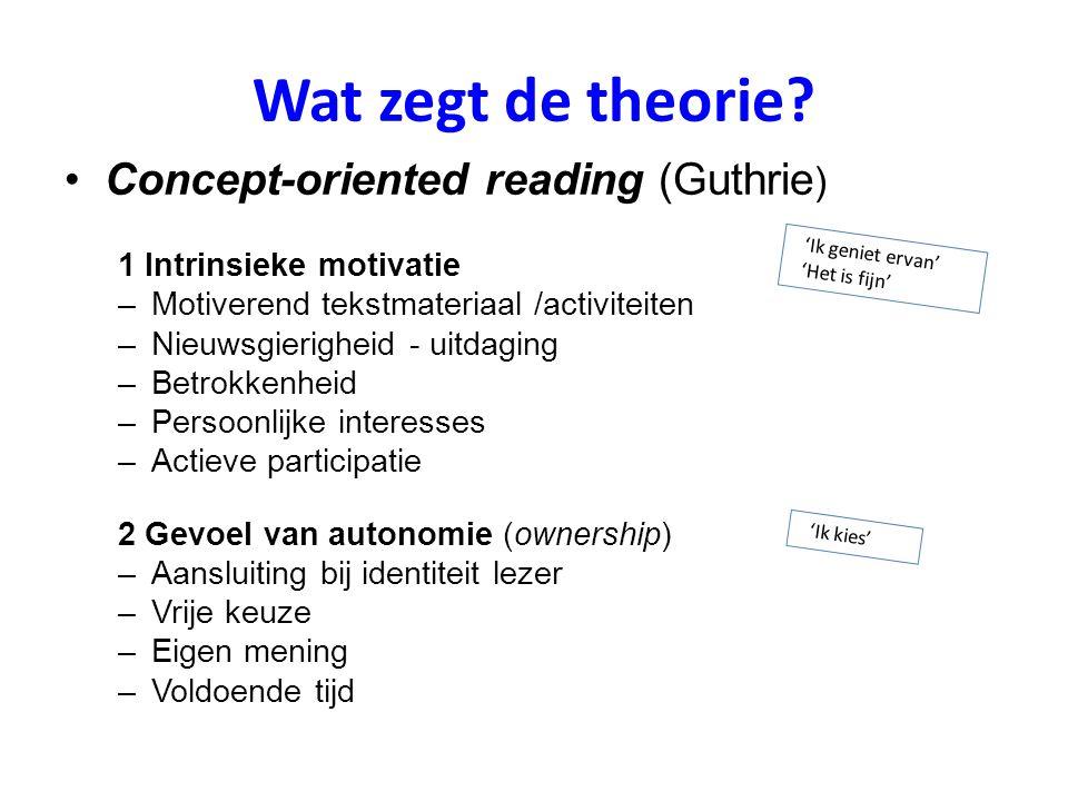 Wat zegt de theorie Concept-oriented reading (Guthrie)