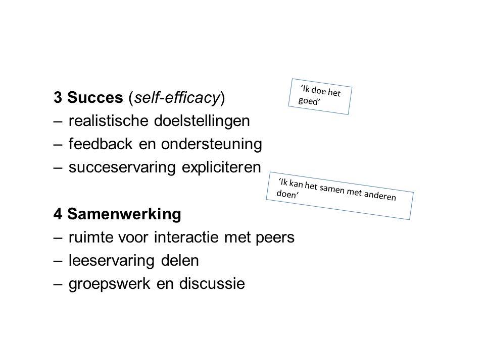 3 Succes (self-efficacy) realistische doelstellingen
