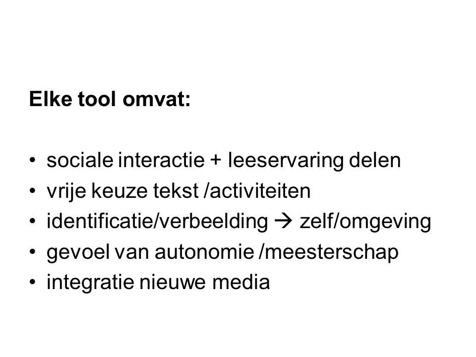 Elke tool omvat: sociale interactie + leeservaring delen. vrije keuze tekst /activiteiten. identificatie/verbeelding  zelf/omgeving.