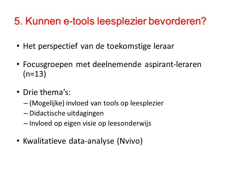5. Kunnen e-tools leesplezier bevorderen