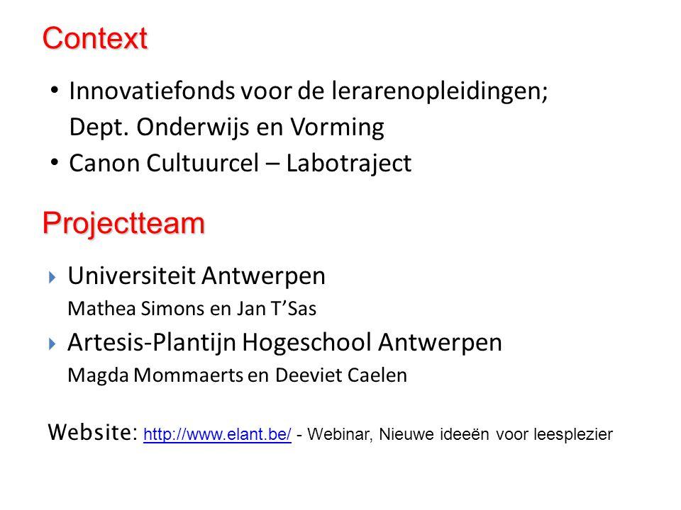 Context Projectteam Innovatiefonds voor de lerarenopleidingen;