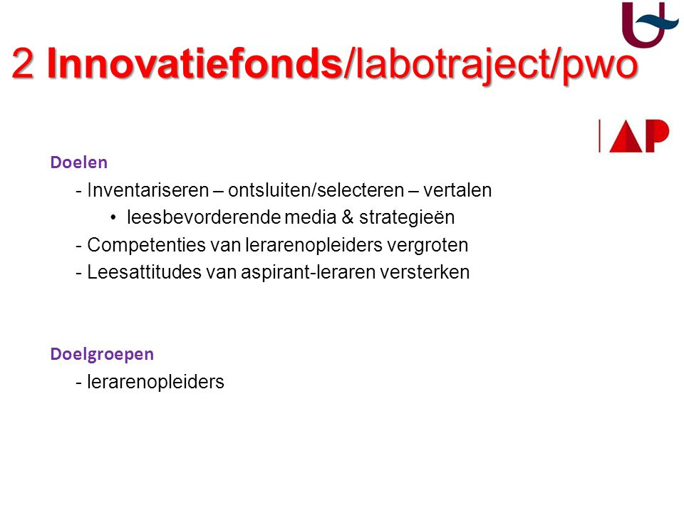 2 Innovatiefonds/labotraject/pwo