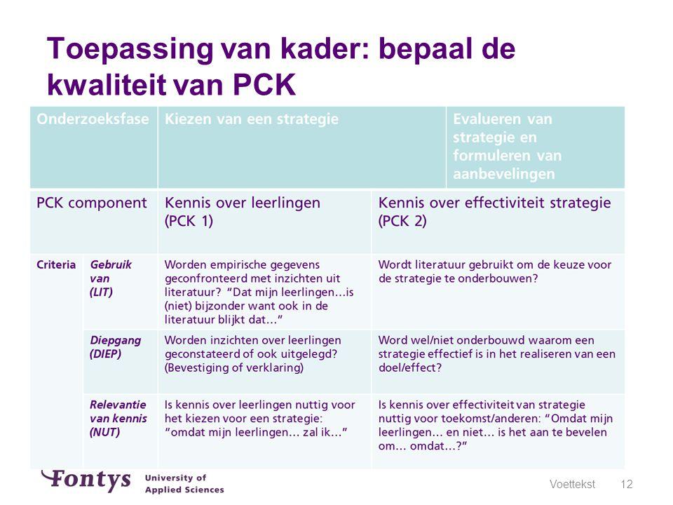Toepassing van kader: bepaal de kwaliteit van PCK
