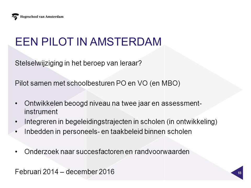 Een pilot in Amsterdam Stelselwijziging in het beroep van leraar