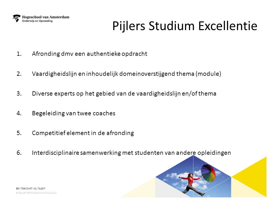 Pijlers Studium Excellentie