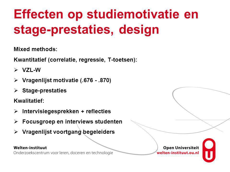 Effecten op studiemotivatie en stage-prestaties, design