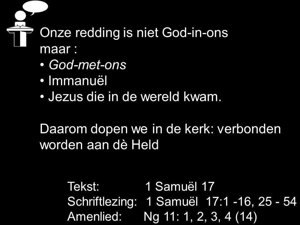 Onze redding is niet God-in-ons maar : God-met-ons Immanuël