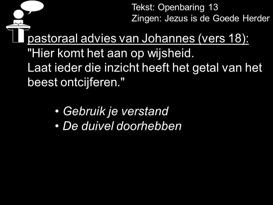 pastoraal advies van Johannes (vers 18):