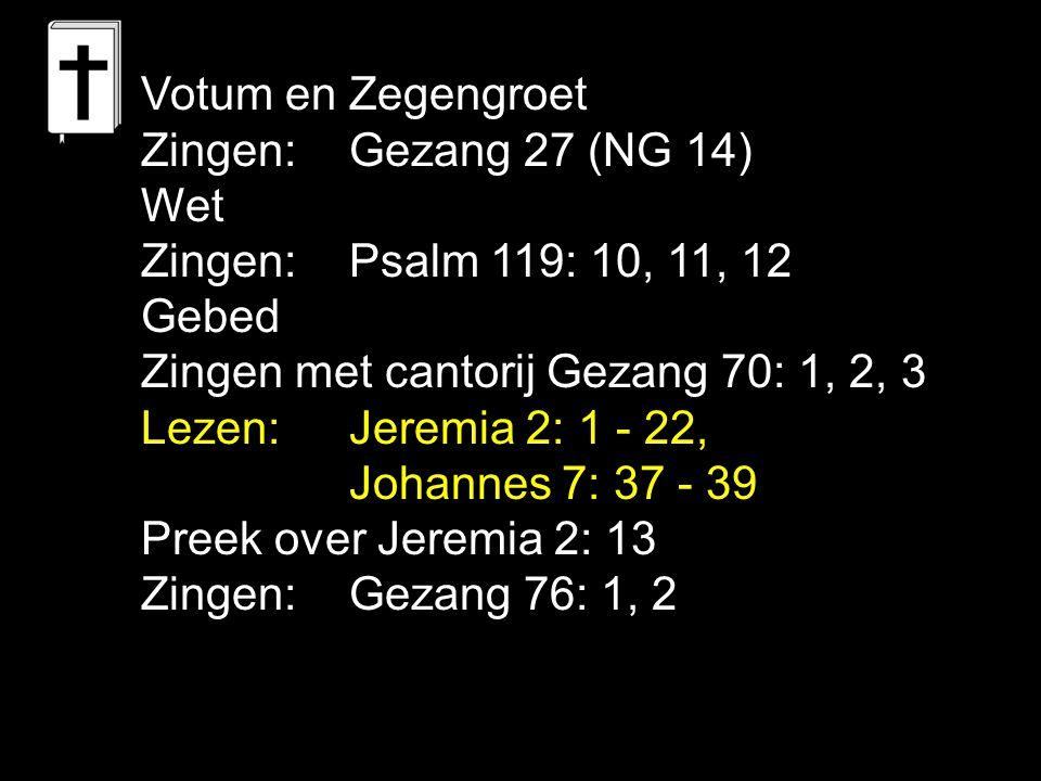 Votum en Zegengroet Zingen: Gezang 27 (NG 14) Wet. Zingen: Psalm 119: 10, 11, 12. Gebed. Zingen met cantorij Gezang 70: 1, 2, 3.