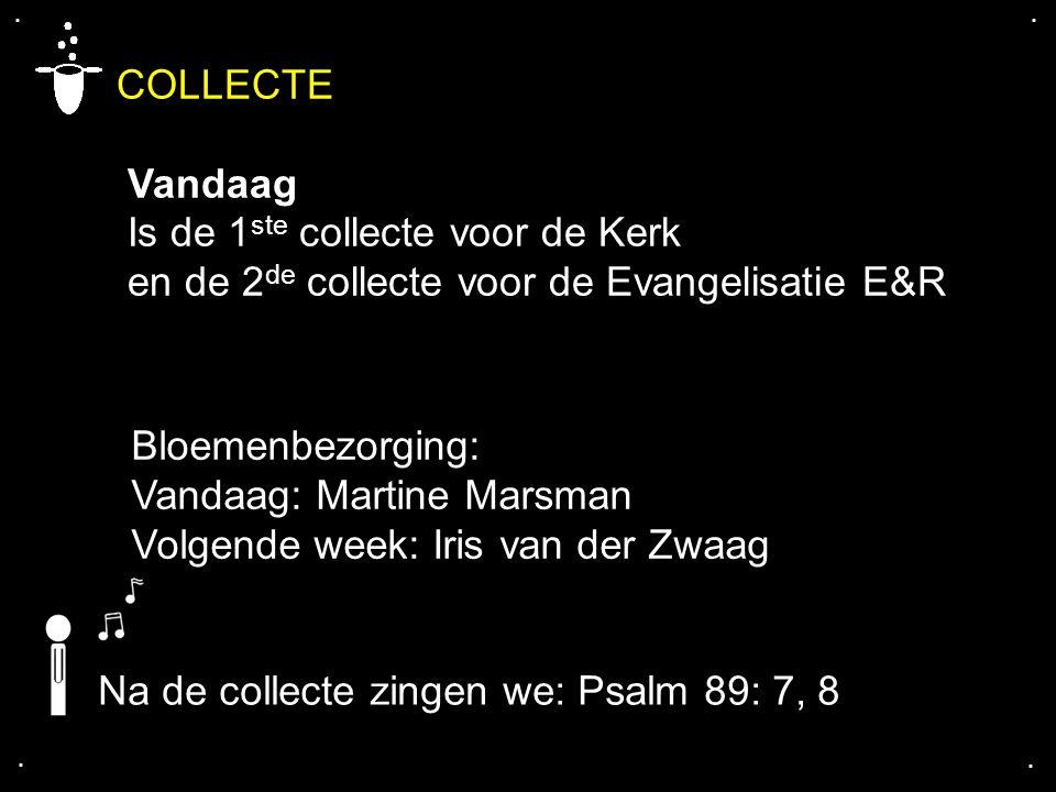 COLLECTE Vandaag Is de 1ste collecte voor de Kerk