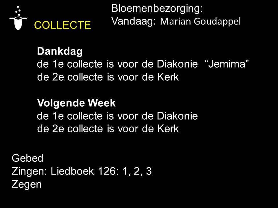 COLLECTE Bloemenbezorging: Vandaag: Marian Goudappel Dankdag