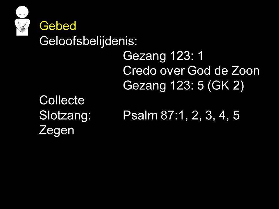 Gebed Geloofsbelijdenis: Gezang 123: 1. Credo over God de Zoon. Gezang 123: 5 (GK 2) Collecte. Slotzang: Psalm 87:1, 2, 3, 4, 5.