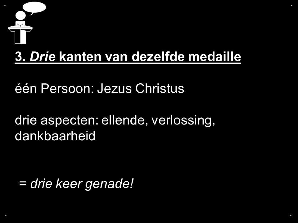 3. Drie kanten van dezelfde medaille één Persoon: Jezus Christus