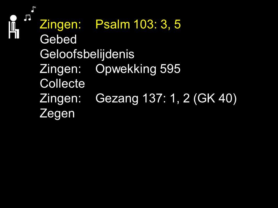 Zingen: Psalm 103: 3, 5 Gebed Geloofsbelijdenis Zingen: Opwekking 595