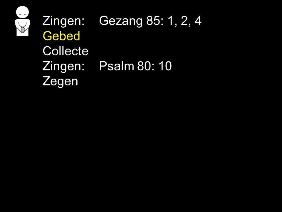 Zingen: Gezang 85: 1, 2, 4 Gebed Collecte Zingen: Psalm 80: 10 Zegen