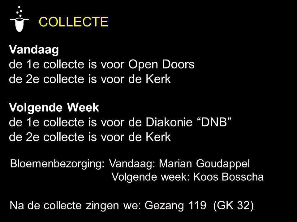 COLLECTE Vandaag de 1e collecte is voor Open Doors