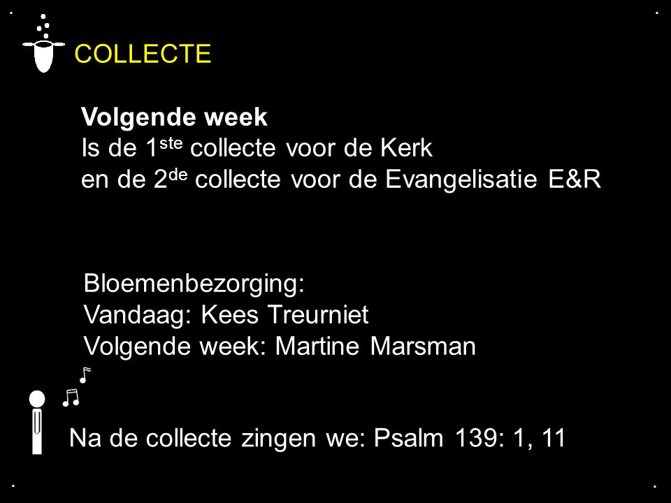 COLLECTE Volgende week Is de 1ste collecte voor de Kerk