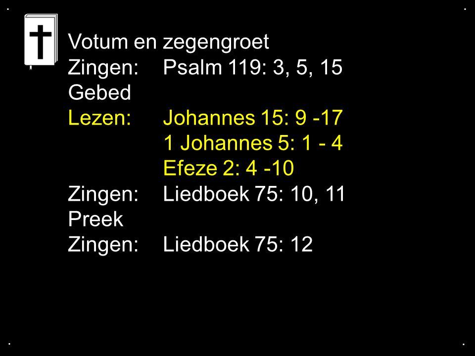 Votum en zegengroet Zingen: Psalm 119: 3, 5, 15 Gebed