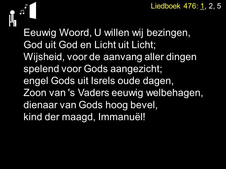 Eeuwig Woord, U willen wij bezingen, God uit God en Licht uit Licht;