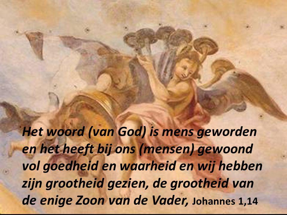 Het woord (van God) is mens geworden en het heeft bij ons (mensen) gewoond vol goedheid en waarheid en wij hebben zijn grootheid gezien, de grootheid van de enige Zoon van de Vader, Johannes 1,14