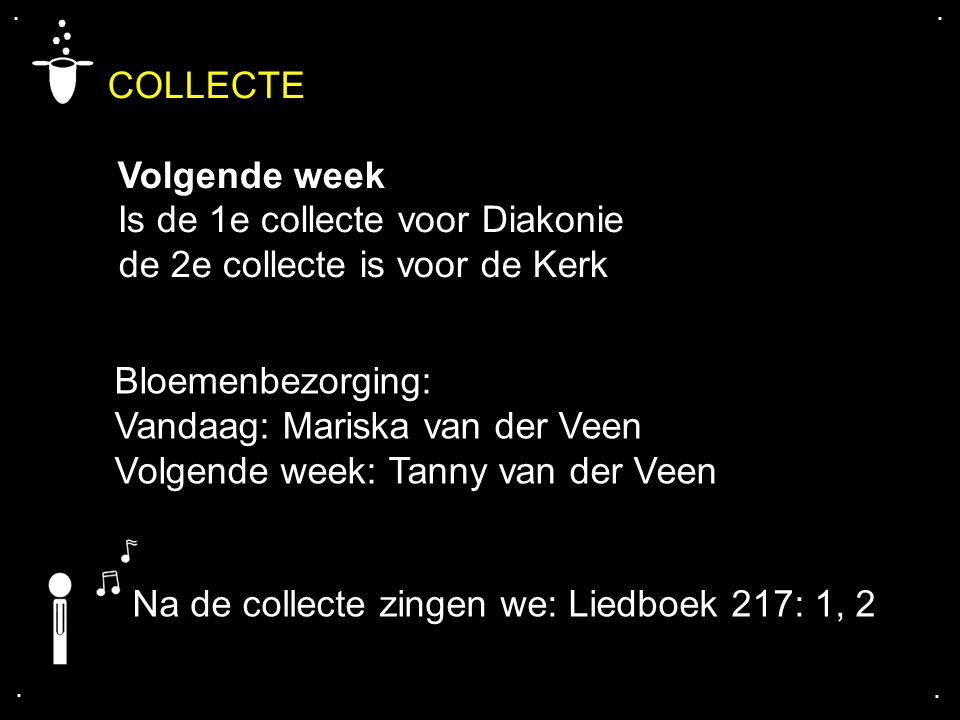 COLLECTE Volgende week Is de 1e collecte voor Diakonie