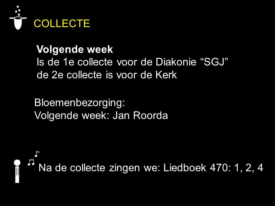 COLLECTE Volgende week Is de 1e collecte voor de Diakonie SGJ