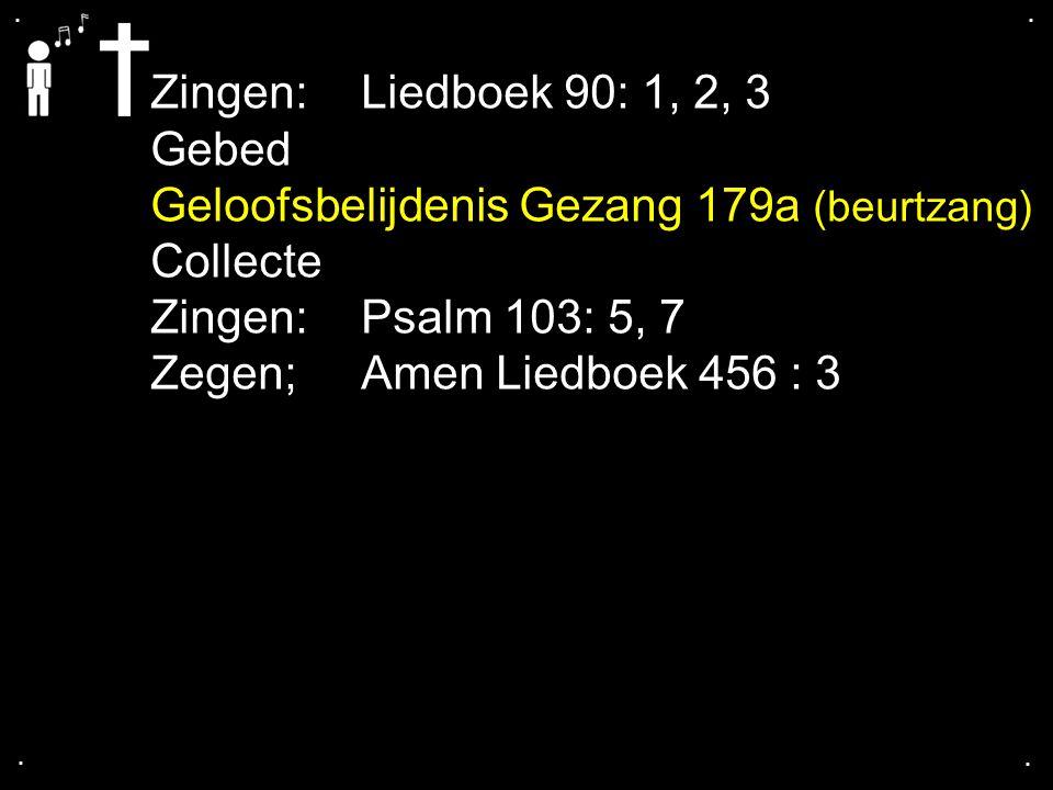 Geloofsbelijdenis Gezang 179a (beurtzang) Collecte