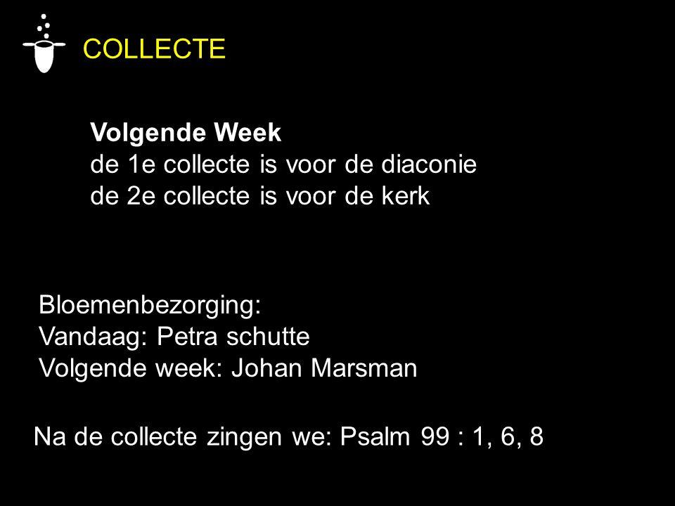 COLLECTE Volgende Week de 1e collecte is voor de diaconie