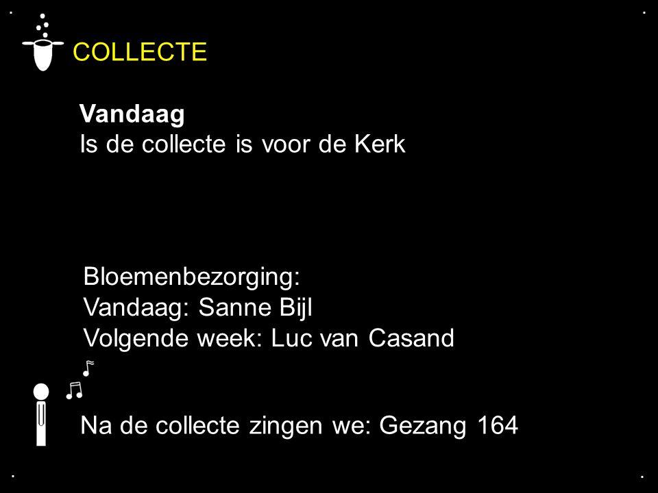 COLLECTE Vandaag Is de collecte is voor de Kerk Bloemenbezorging: