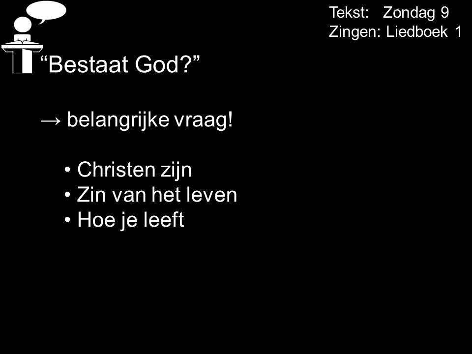 Bestaat God → belangrijke vraag! Christen zijn Zin van het leven