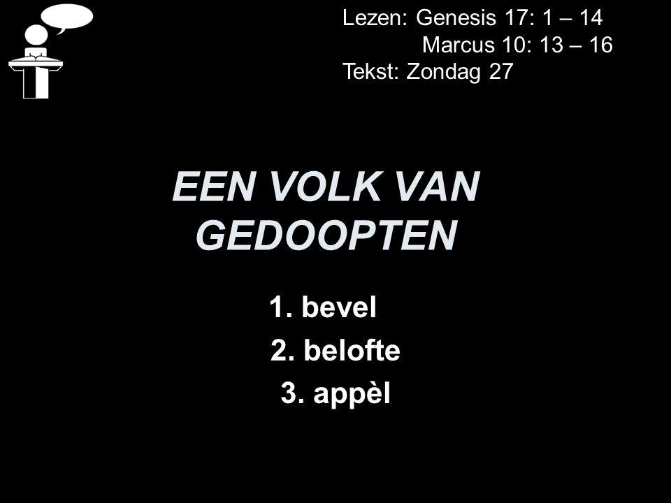 EEN VOLK VAN GEDOOPTEN 1. bevel 2. belofte 3. appèl