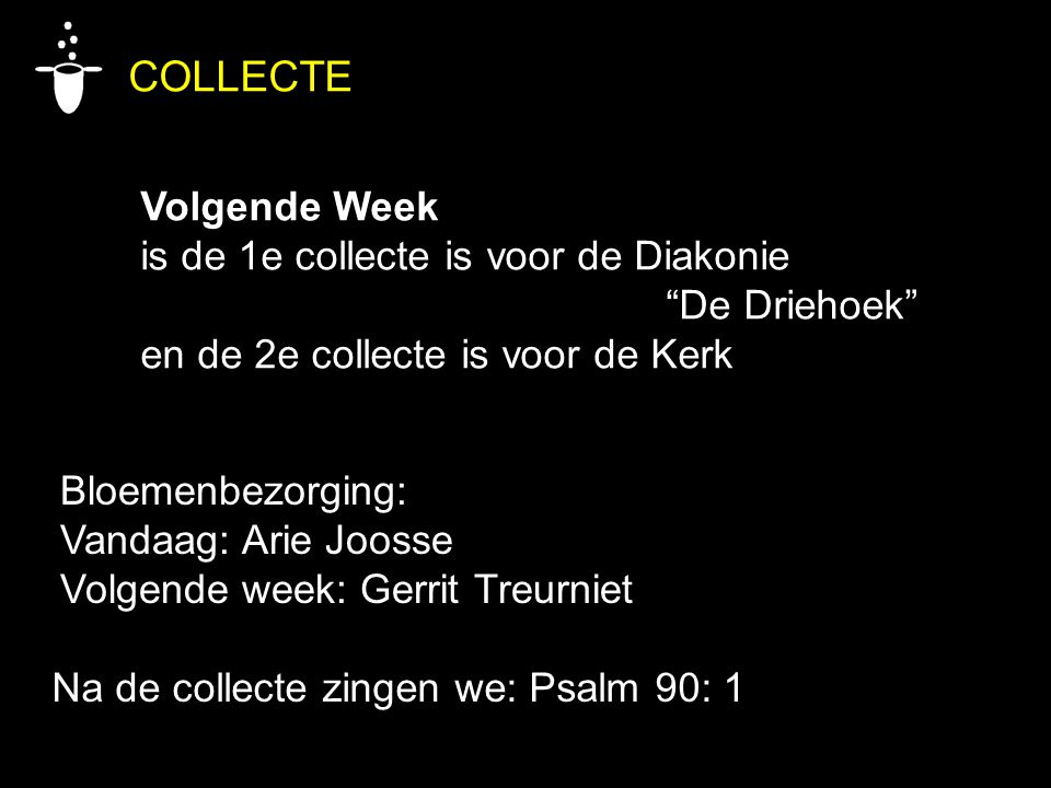 COLLECTE Volgende Week is de 1e collecte is voor de Diakonie