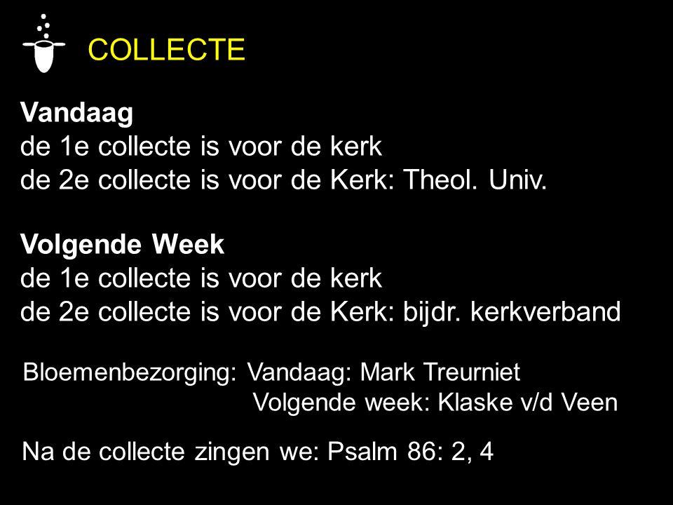 COLLECTE Vandaag de 1e collecte is voor de kerk