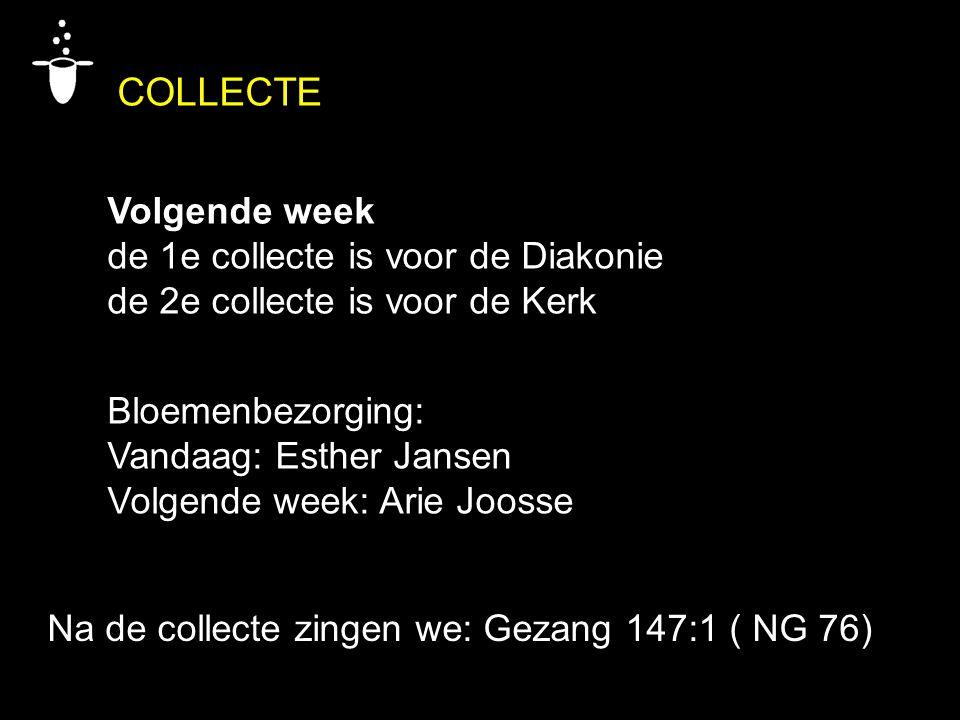 COLLECTE Volgende week de 1e collecte is voor de Diakonie