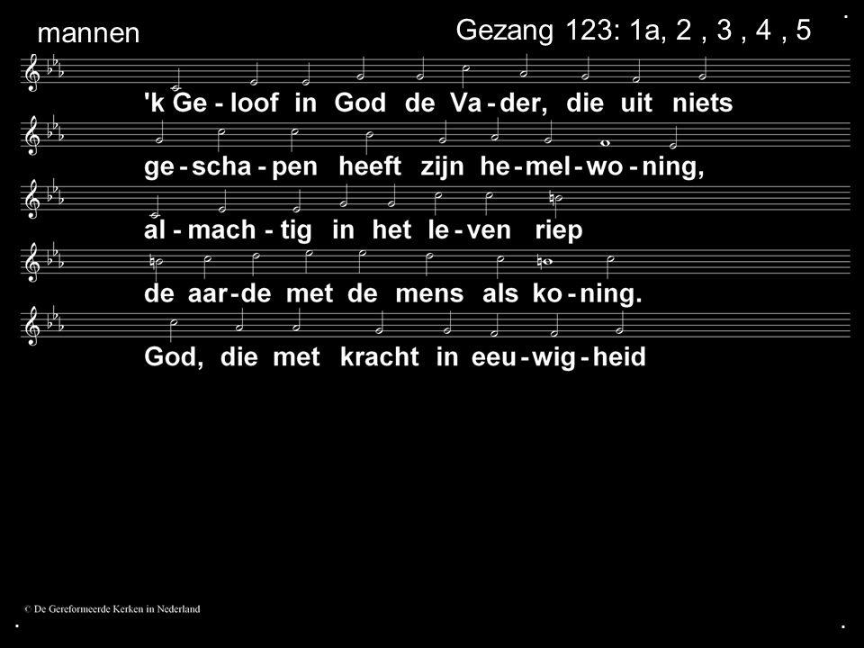 . mannen Gezang 123: 1a, 2 , 3 , 4 , 5 . .